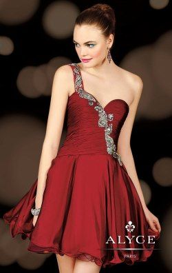 Beaded One Shoulder Dress by Alyce Homecoming 4403