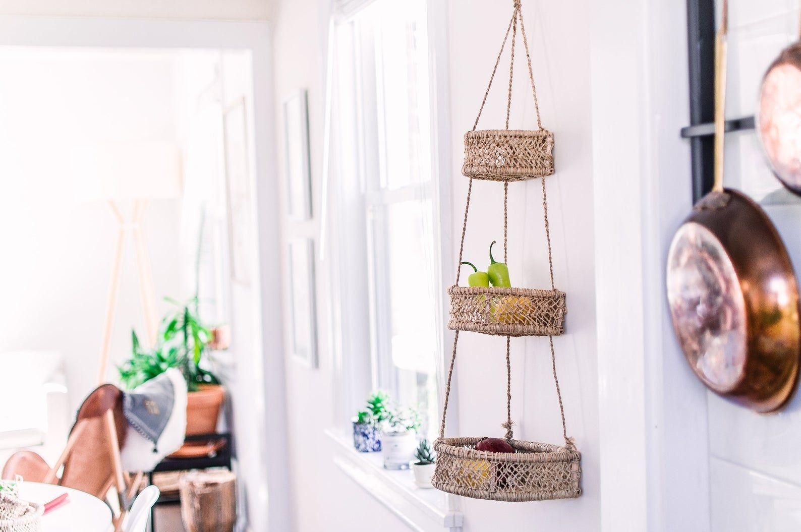 hanging fruit basket- hanging kitchen basket- three tiers