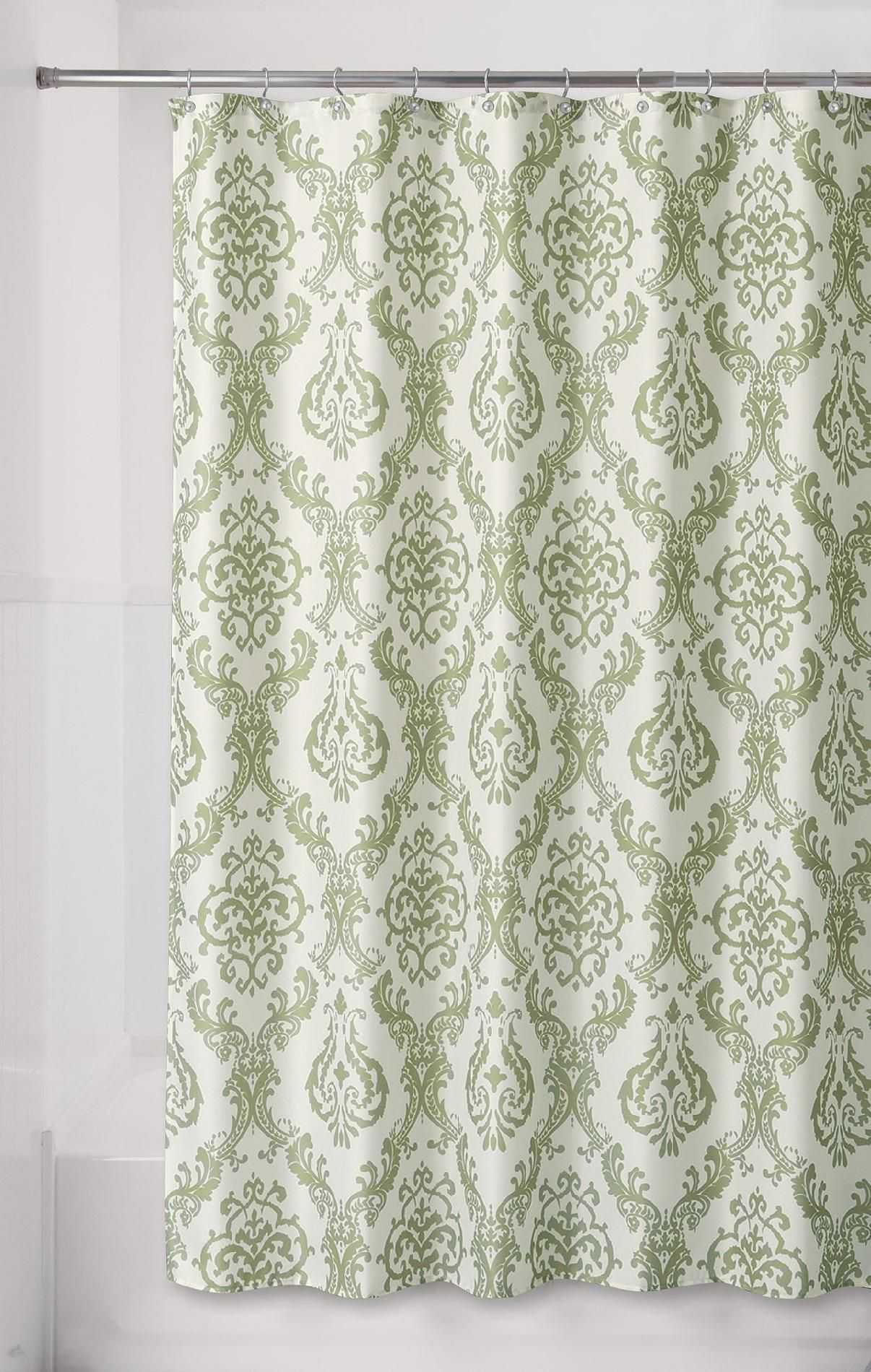 Sears Green Damask Shower Curtain With Images Pretty Shower