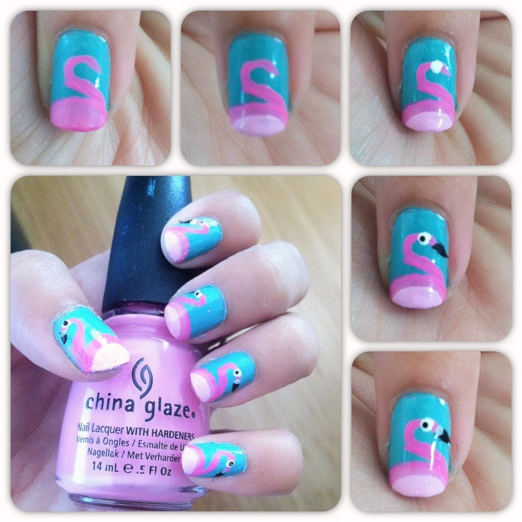 Flamingo Nails So cute! | Nails | Pinterest