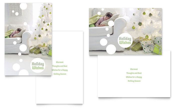 Stylish Holiday Trees Greeting Card Template by @StockLayouts - christmas card templates for word