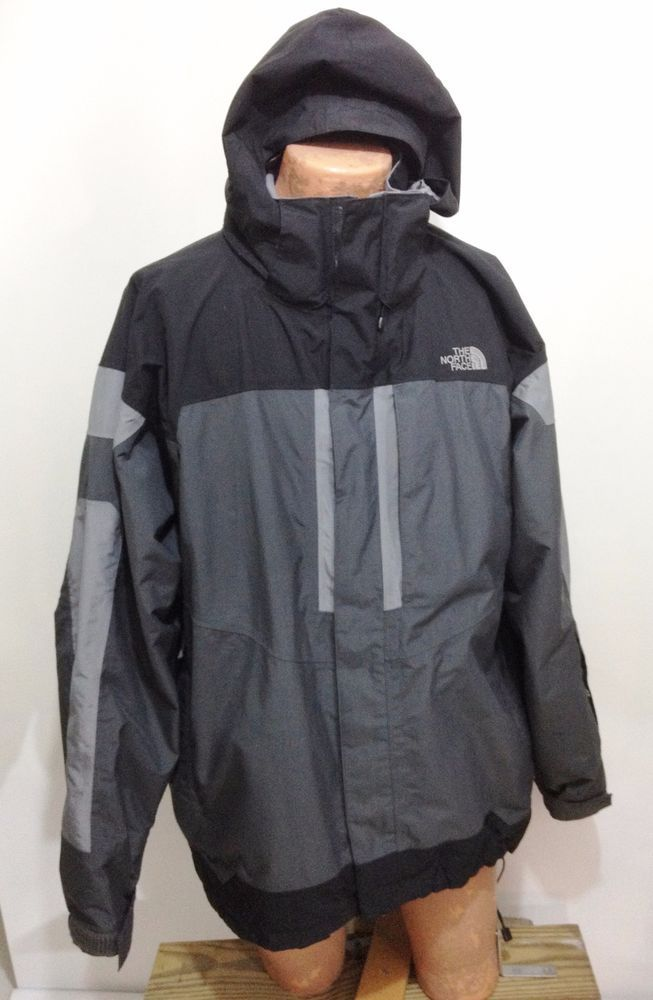 70702b63b The North Face HyVent Gray & Black Hooded Rain Jacket Raincoat Mens ...
