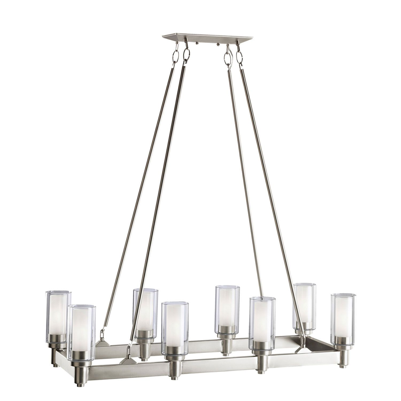 Rustikale esszimmerbeleuchtung ideen kichler circolo brushed nickel eightlight rectangle chandelier