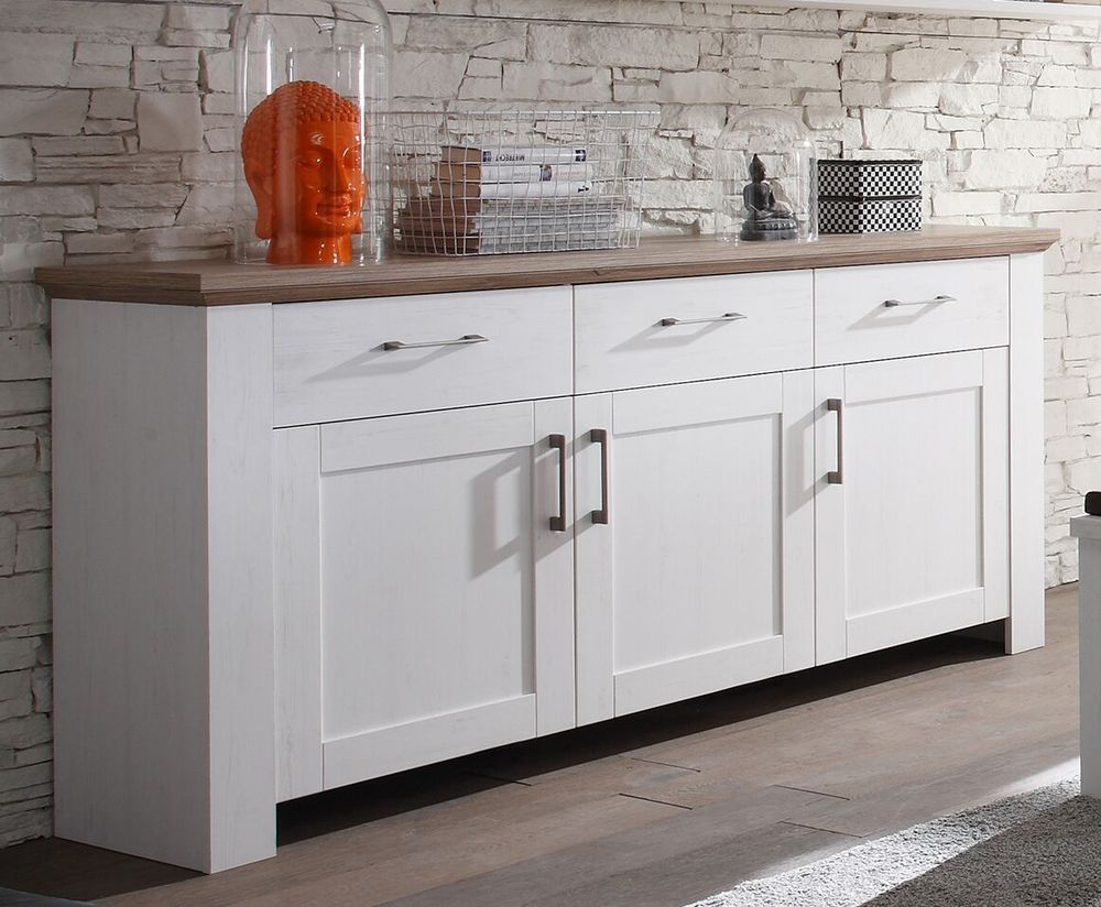 Sideboard Kommode Weiss Anderson Pine Eiche Silber Woody 91 00469