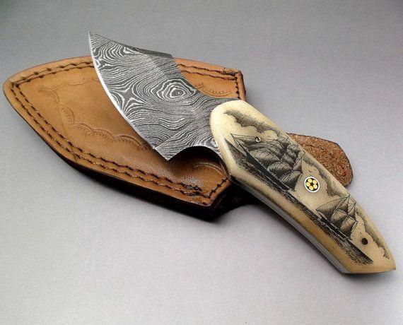 Scrimshaw Cuchillo Damasco Cuchillo Acero De Damasco Fijada Etsy Acero De Damasco Cuchillos Acero