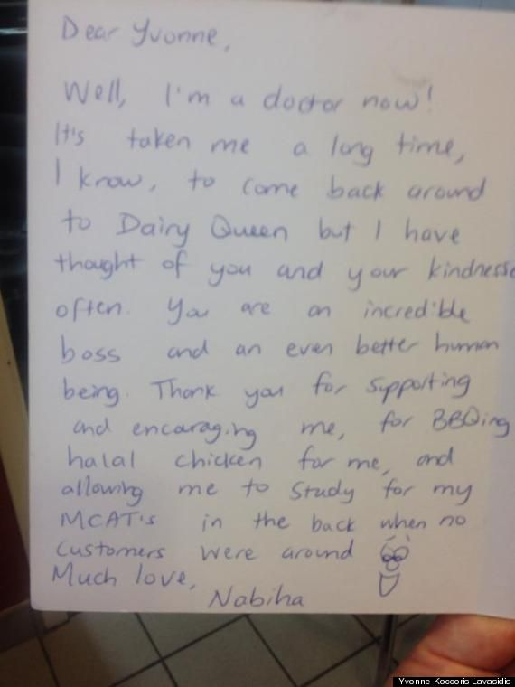 Doctor Writes Letter Of Gratitude To Dairy Queen Owner, Moves Her - thank you letter to doctor