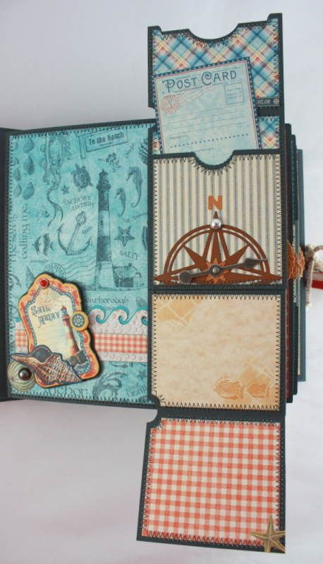 Twag Cathy 8x8 By The Sea Stitched Premade Scrapbook Album