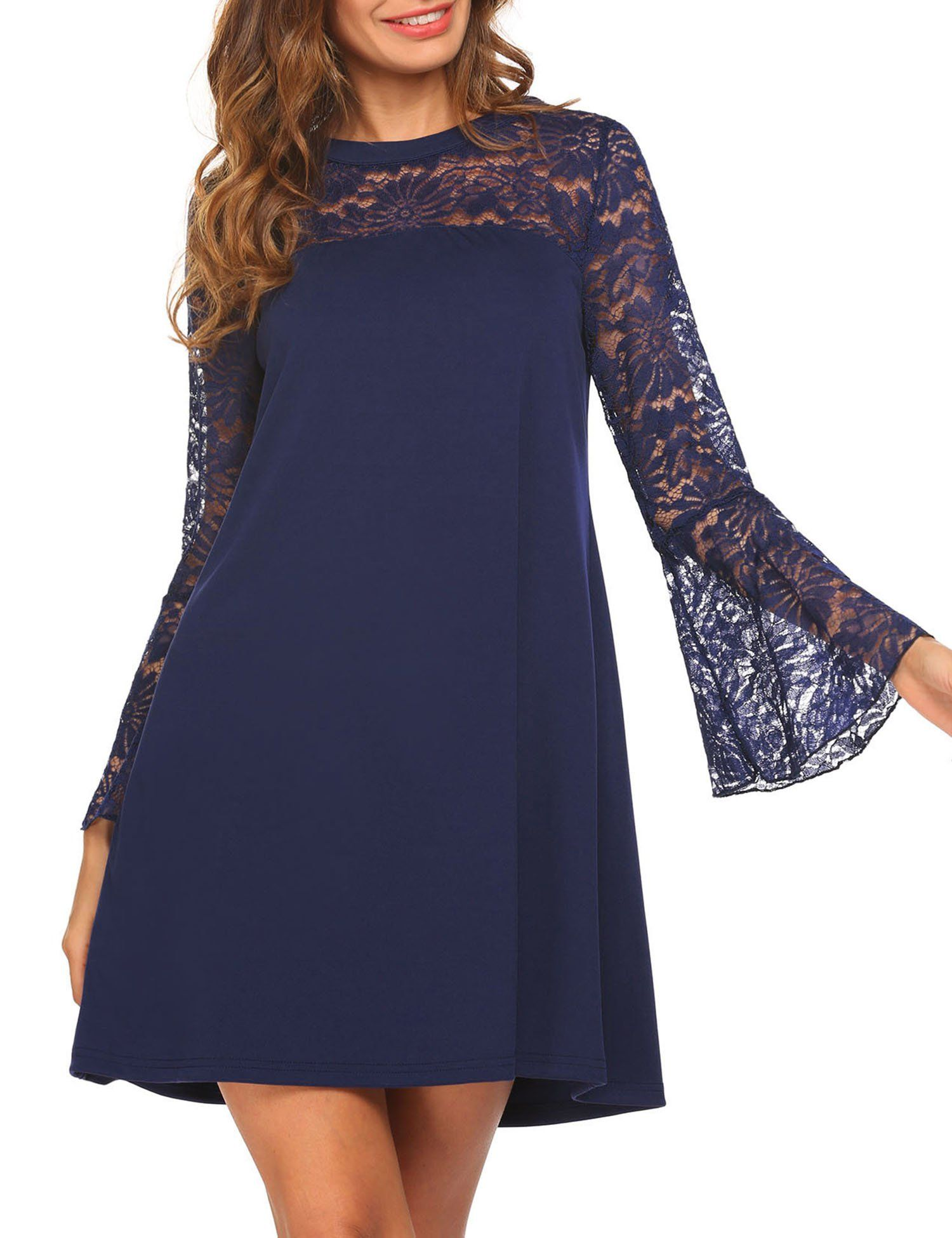 Pasttry women long sleeve floral lace cotton tunic dress navy blue