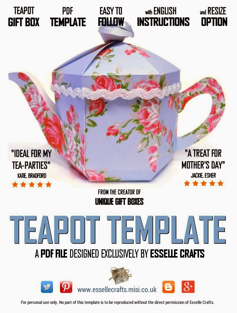 Teapot Treats Gift Box - PDF Template. | box templates | Pinterest ...