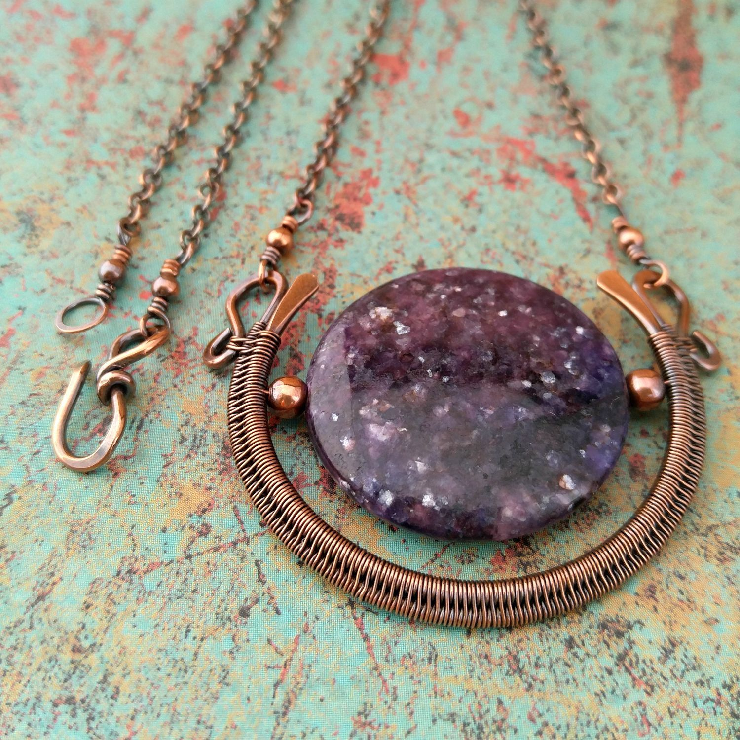 Egyptian Moon Pendant, Lepidolite, Copper Wire Wrapped Pendant ...