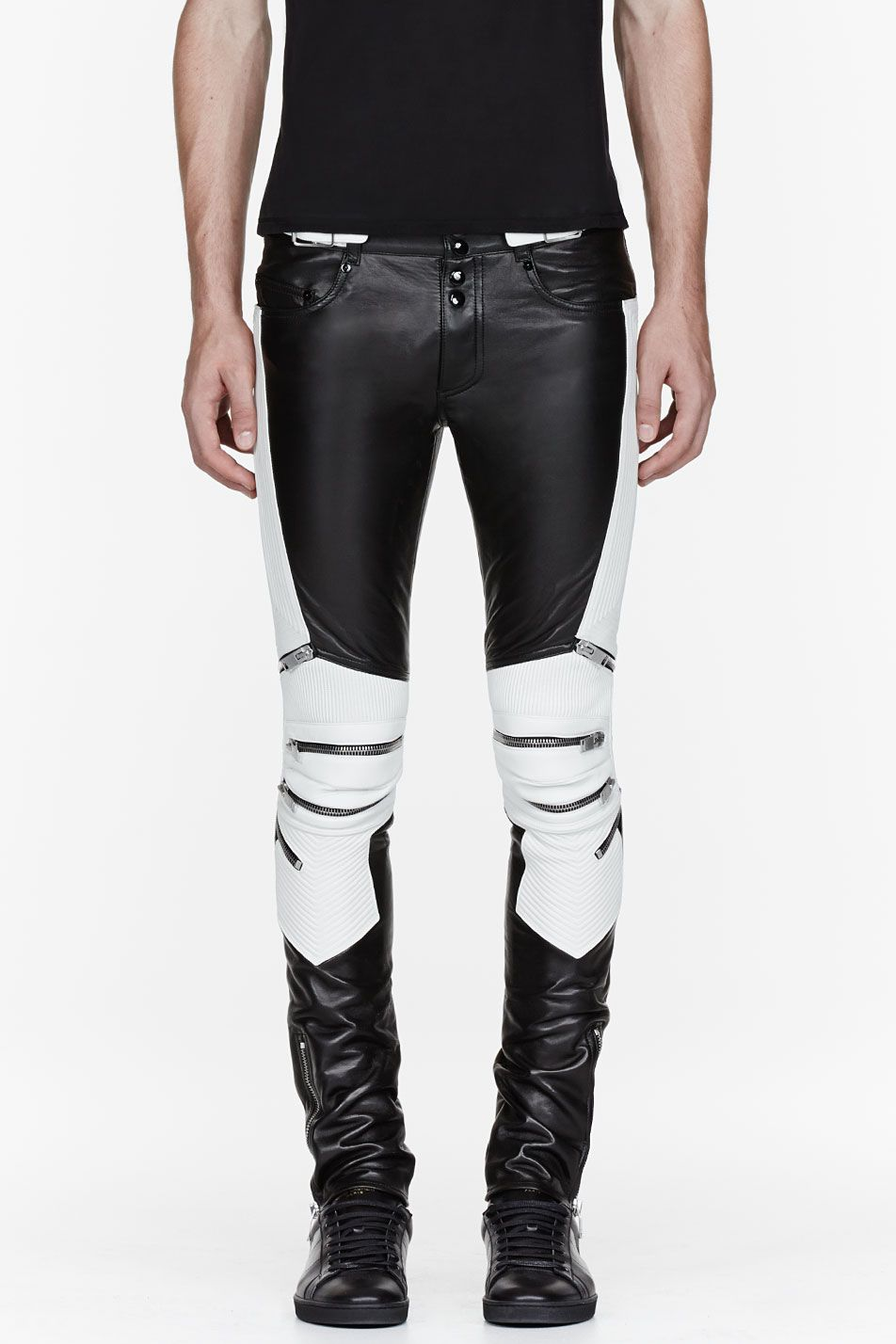 2e807ba8b94ab7 SAINT LAURENT Black & white ribbed zipped biker pants | Everyday ...