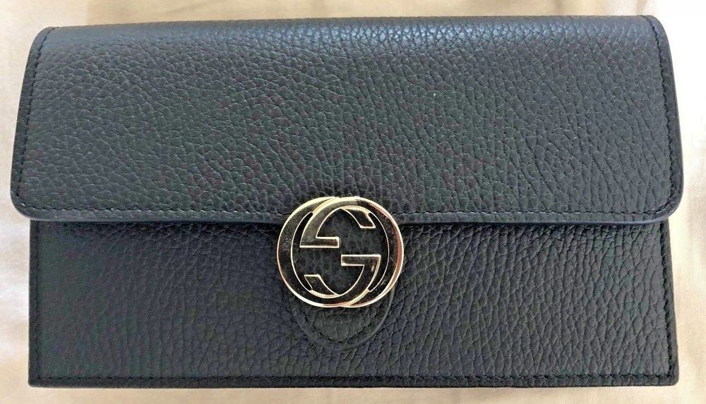 57597aa974d9 Gucci Black Pebble Leather Interlocking G Mini Chain Bag Wallet #Gucci  #ShoulderBag