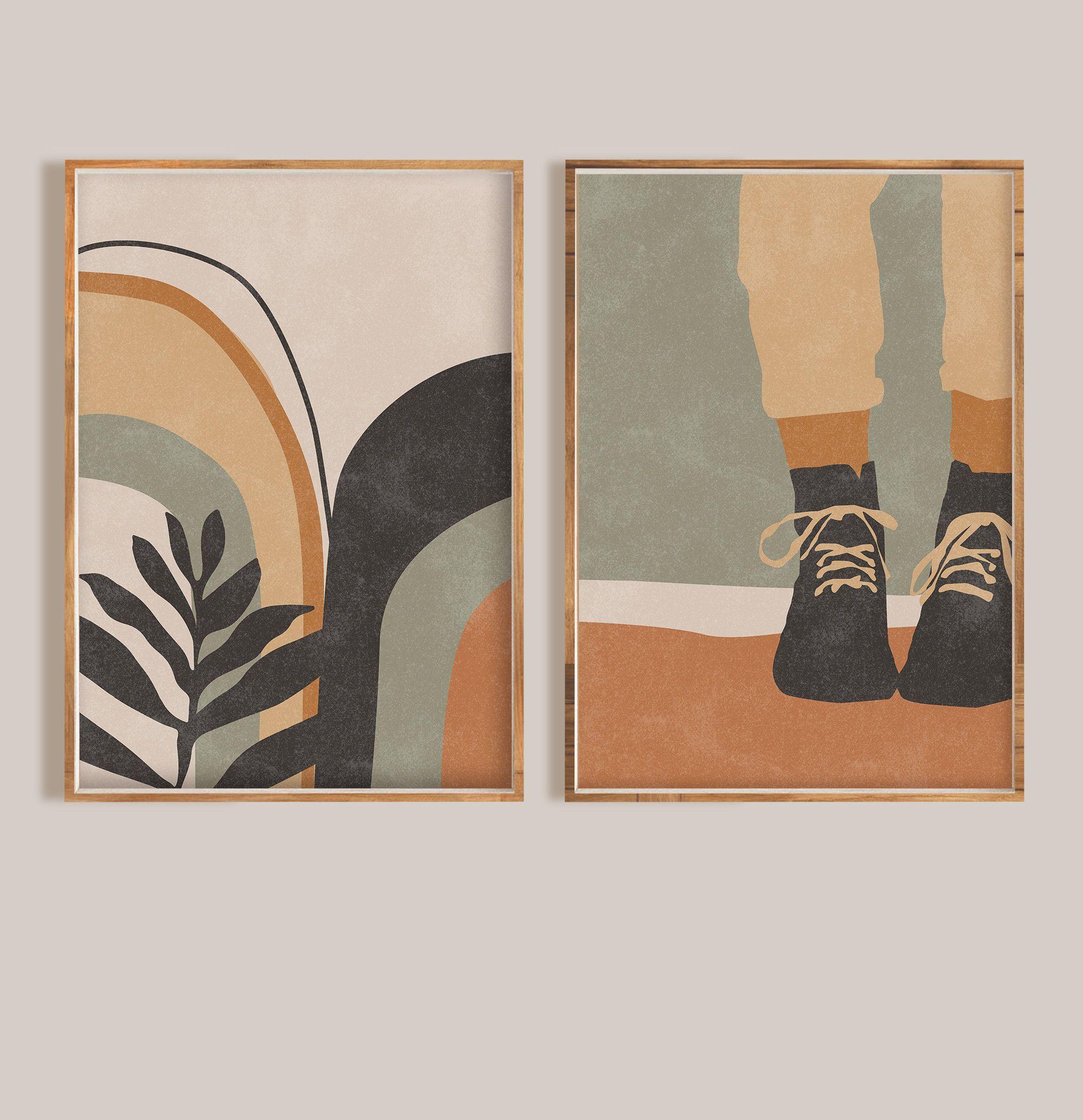 Mid Century Modern Art Print Set Of 2 Minimal Abstract Wall Art Botanical Poster Boho Home Decor Neutral Art Printable Digital Download In 2020 Mid Century Modern Art Print Modern Art