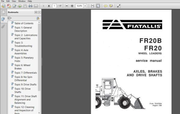 Fiatallis Fr20b Fr20 Wheel Loaders Service Repair Manual 73157924 Fiatallis Fr20b Fr20 Pdf Repair Manuals Manual Repair