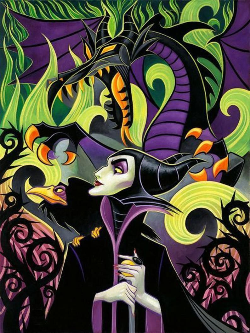 Forces of Evil - Maleficent and Dragon 8x10 Craft Fabric Block - Great for Quilting, Pillows & Wall Art - Buy 2, Get 1 FREE