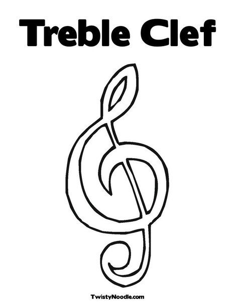 Treble Clef Coloring Page From Twistynoodle Com Treble Clef