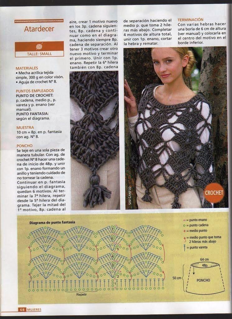 Ponchos a crochet de verano - Imagui