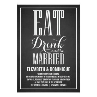 5 x 7 Inch Eat Drink And Be Married Invitations