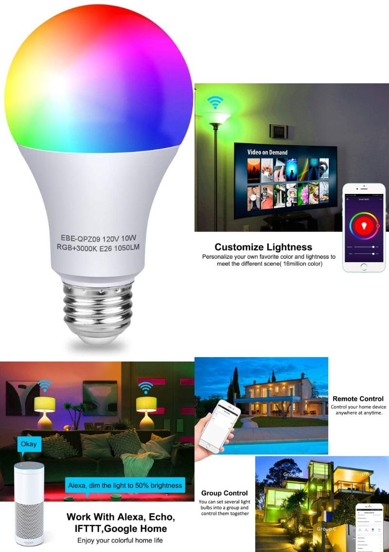 Aigital WiFi Smart Light Bulb,RGB LED Color Changing