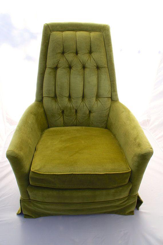 Vintage Mid Century Modern Green Velvet High Back Arm