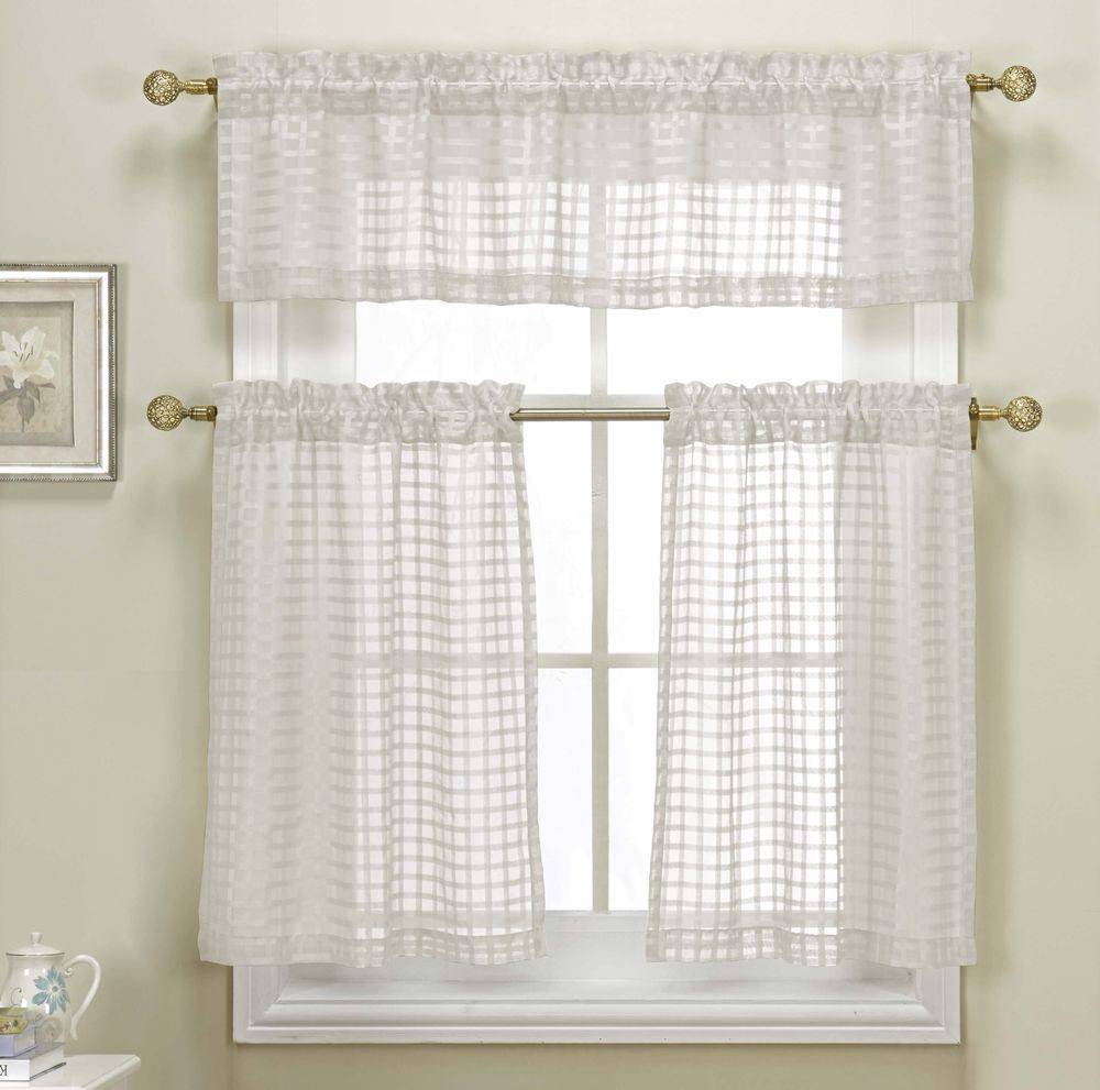 Polycotton Star Cut Out Kitchen Curtain Drape Tier & Valance Swag ...
