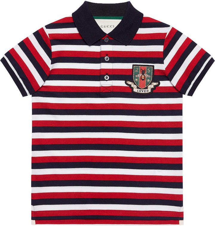 b2039fbb7e Gucci Kids Children's striped cotton polo with crest | Products ...