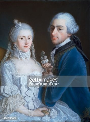Kunst : Portrait of married couple by unknown French artist (18th century), pastel on paper mounted on canvas