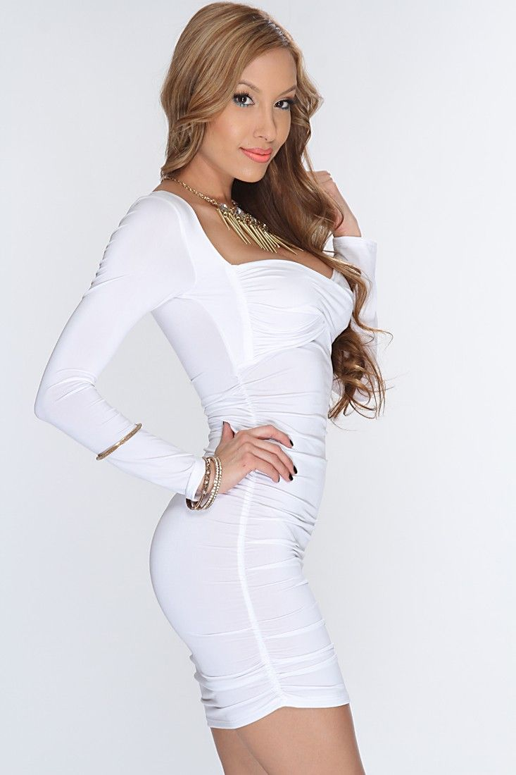 a2529fb3429e White Ruched Sides Sexy Party Dress   Amiclubwear sexy dresses