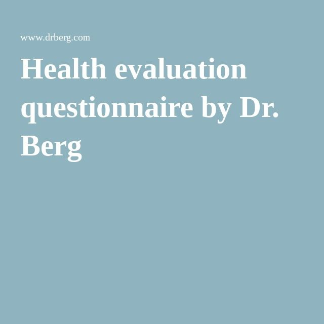 Health evaluation questionnaire by Dr. Berg