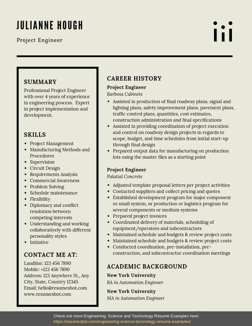 Project Engineer Resume Samples Templates Pdf Word Project Engineer Resumes Bot Resume Examples Engineering Resume Resume Template Examples