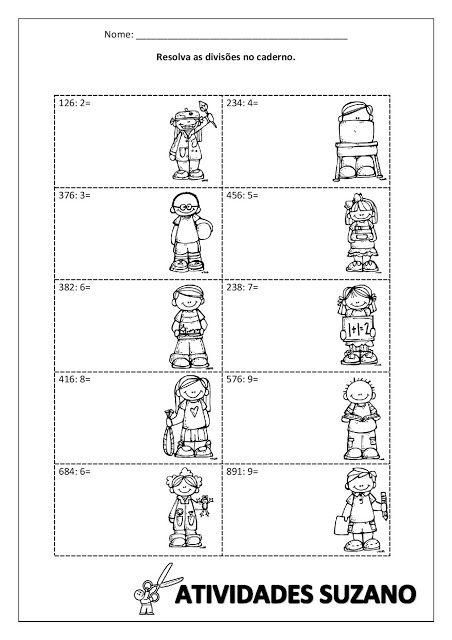 Divisão Ilustrada Atividades Matemática 1º E 2º Ano School Math