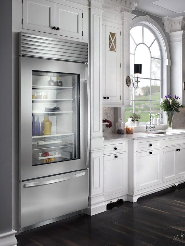 Sub Zero Glass Front Refrigerator With Bottom Freezer