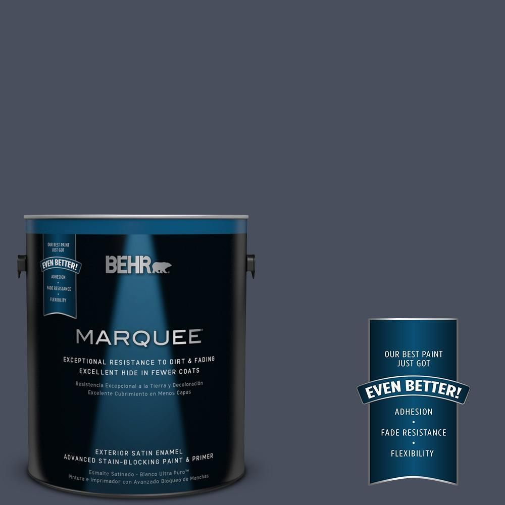 Behr Marquee 1 Gal S510 7 Dark Denim Satin Enamel Exterior Paint And Primer In One 945301 The Home Depot Behr Marquee Behr Marquee Paint Exterior Paint