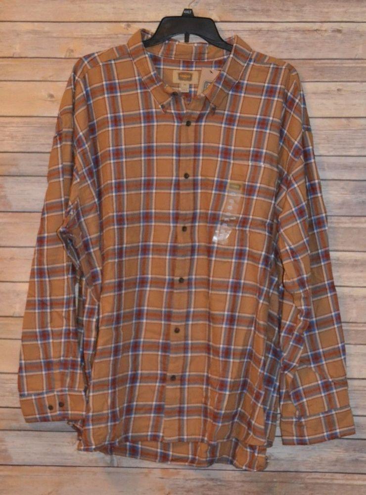 The Foundry Mens BIG /& TALL Plaid Toffee Flannel LONG SLEEVE SHIRT LT 4XL 5XL