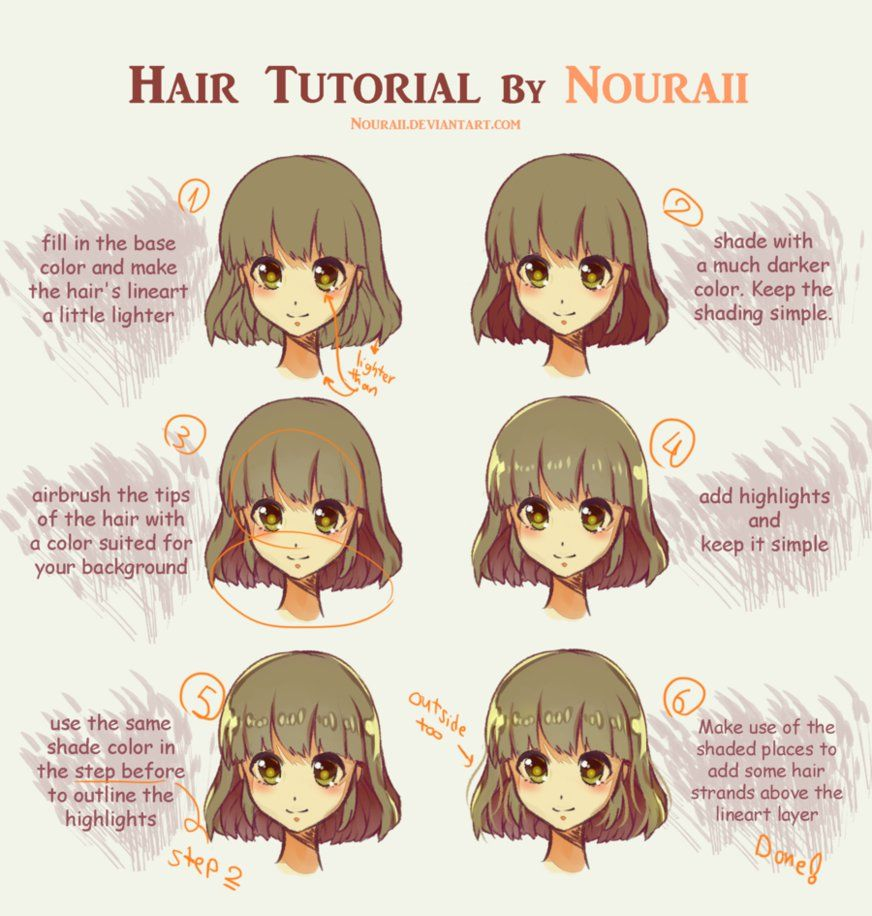 Hair Tutorial by Nouraii on DeviantArt Anime tutorial