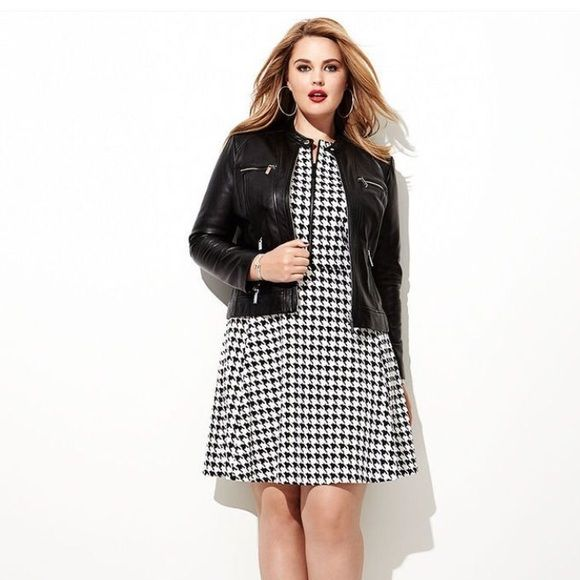 Michael Kors Houndstooth Black and White Dress Worn Once and Dry Cleaned. New/Excellent Condition- 16W MICHAEL Michael Kors Dresses