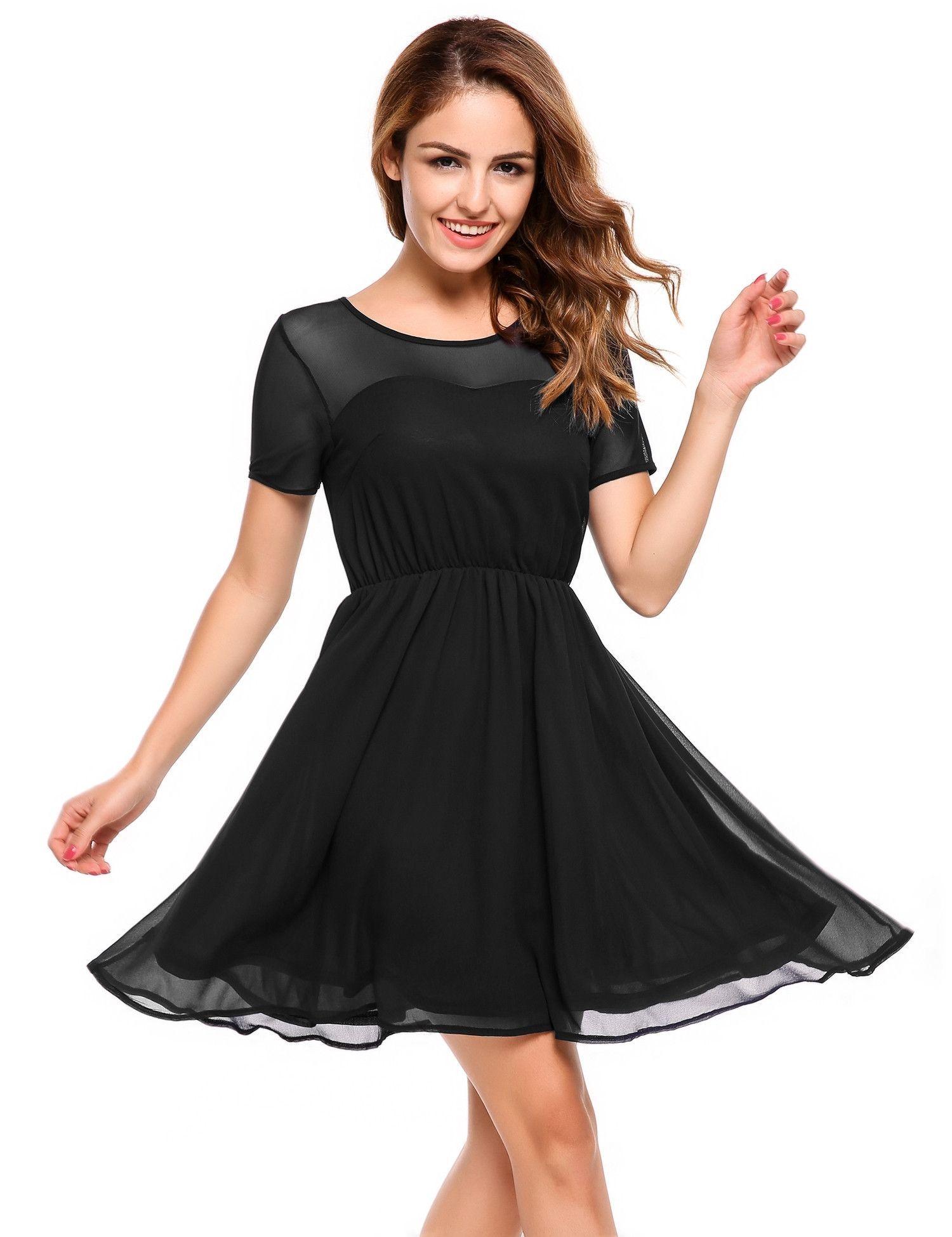 Black Short Sleeve Mesh Chiffon Fit And Flare Dress Flare Dress Casual Summer Dresses Fit And Flare Dress