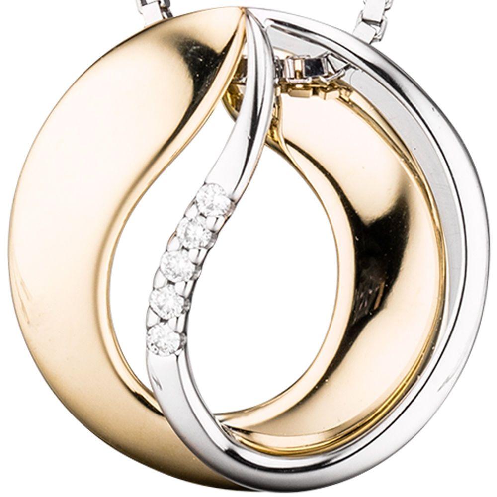 NEU echt Gold Anhänger Diamant BICOLOR rund 15,8 mm Ø 585er