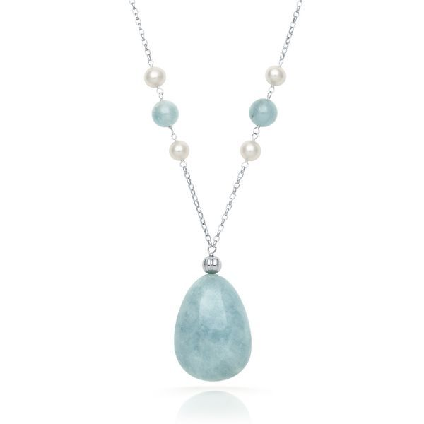 Milky Aquamarine & Freshwater Cultured Pearl Necklace in Sterling Silver