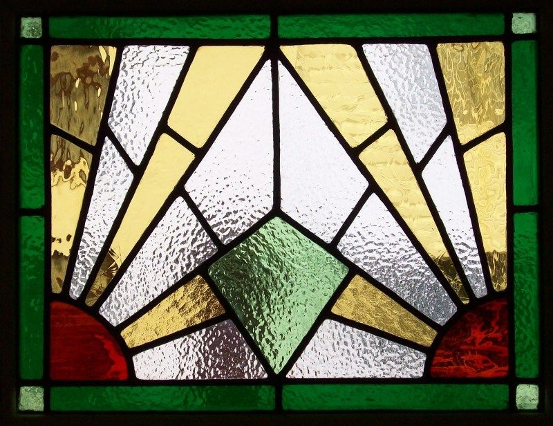 Art deco stained glass patterns art deco panel for 1930 for 1930s stained glass window designs