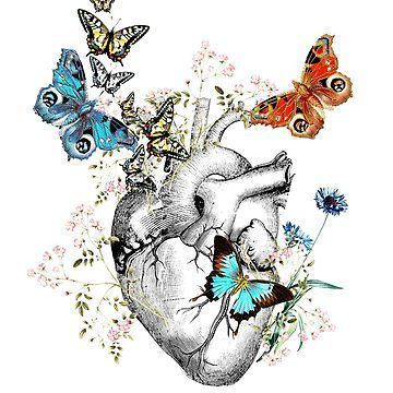 'heart is in spring, love and flowers and butterflies,heart illustrations' Classic T-Shirt by Collagedream -  - #butterfliesheart #Classic #Collagedream #flowers #heart #illustrations #Love #Spring #TShirt