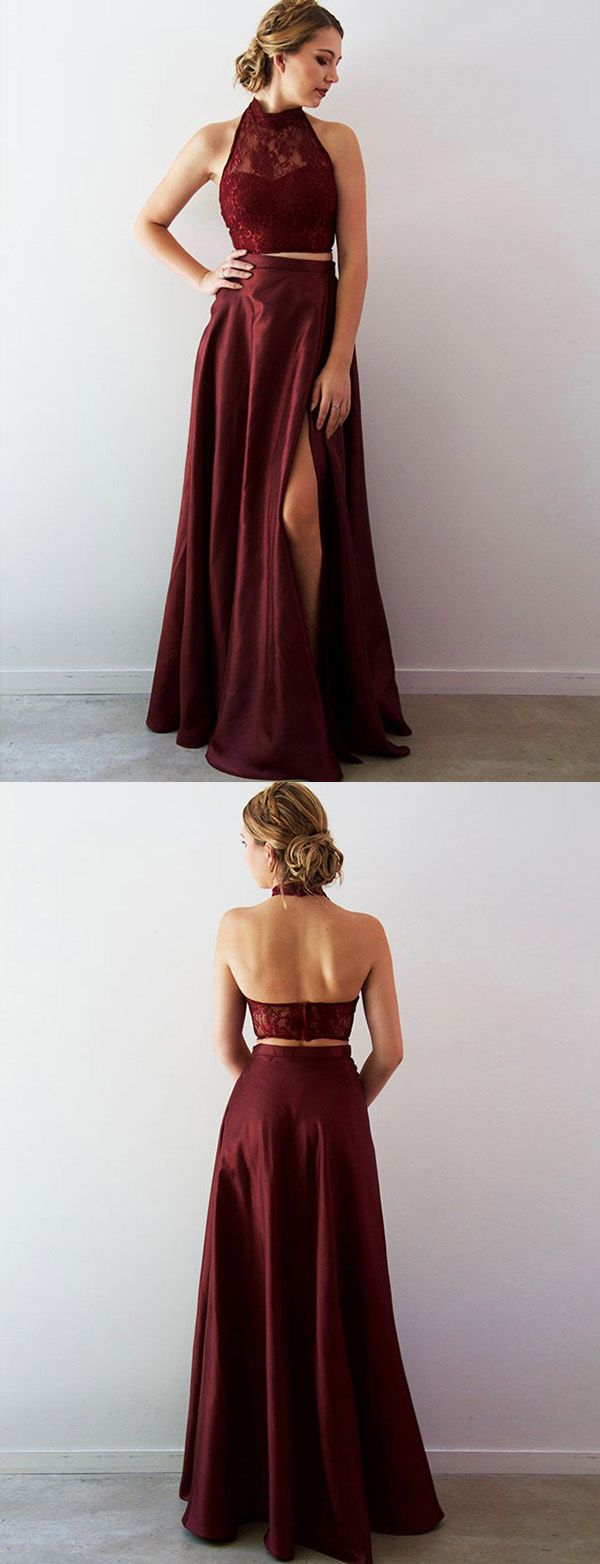 Two piece a line halter split front burgundy long prom dress with
