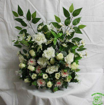 DonRegaloWeb - Centro de flores de tela de 1 cara con rosas y capullos color crema y clavellinas rosas