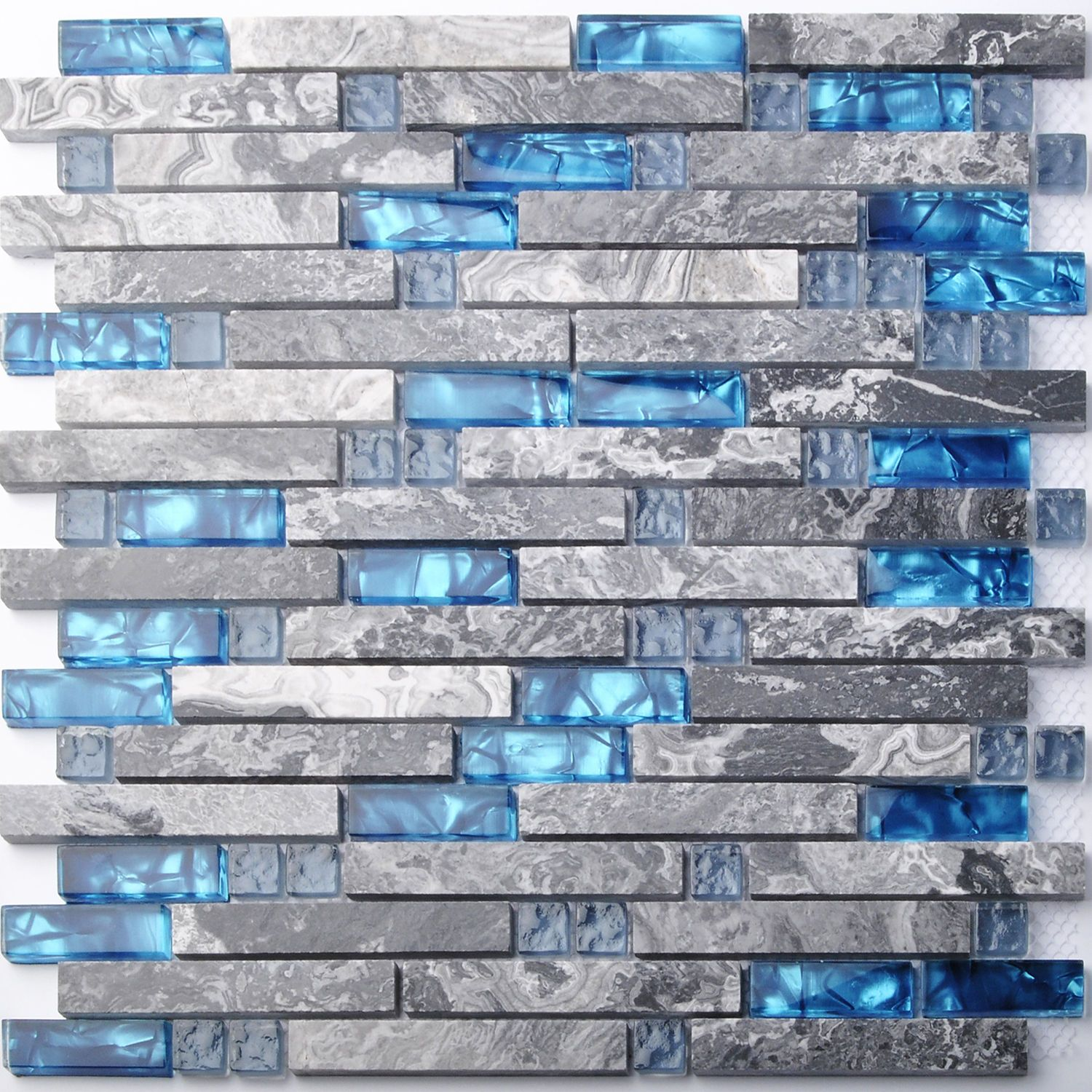 Home Building Glass Tiles Wall Interlocking Gray Marble Blue Sea ...