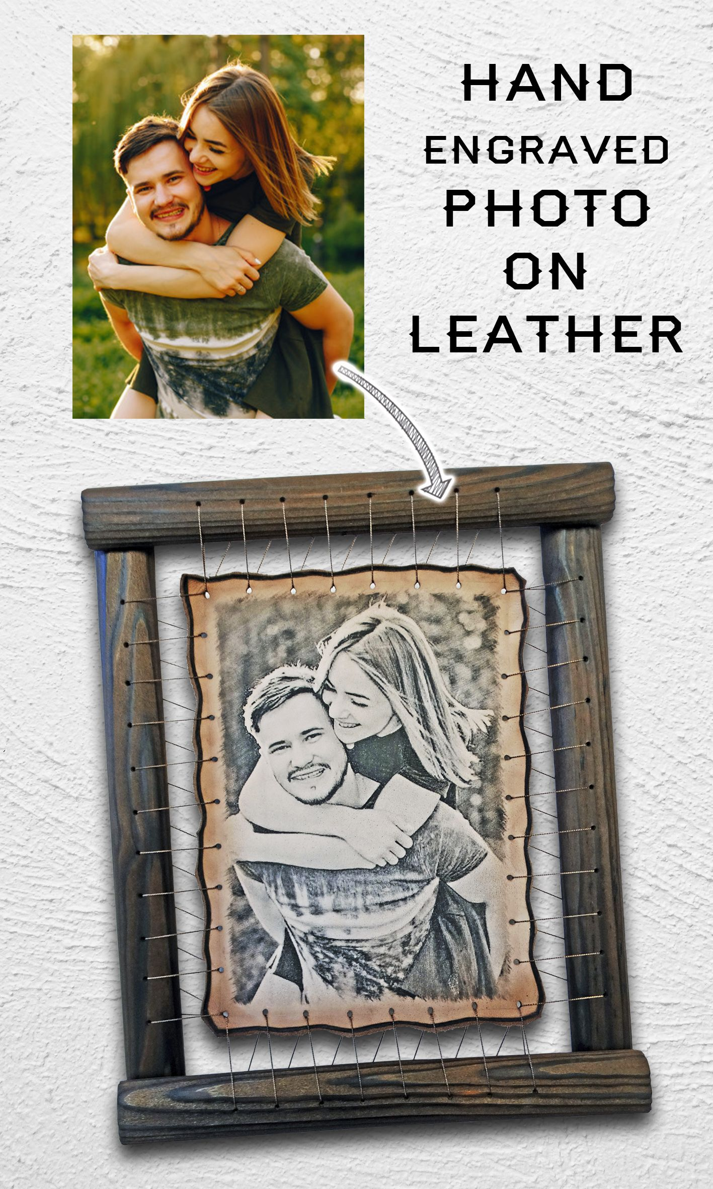 Personalized Your Photo on Leather 3rd anniversary gift