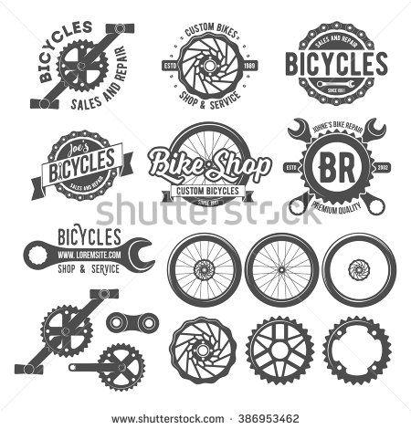 Set of vintage and modern bike shop logo badges and labels