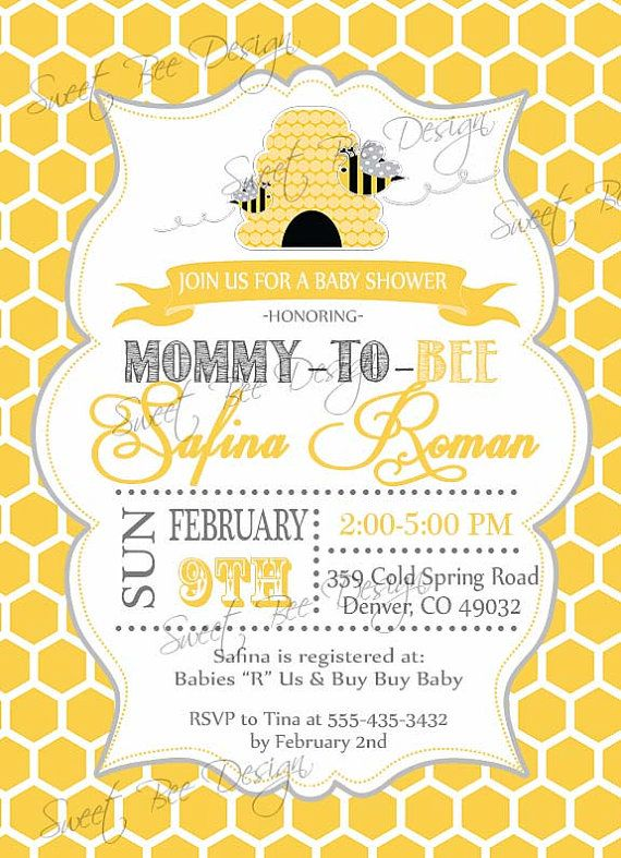Bee Baby Shower Invitation Mommy To By SweetBeeDesignShoppe