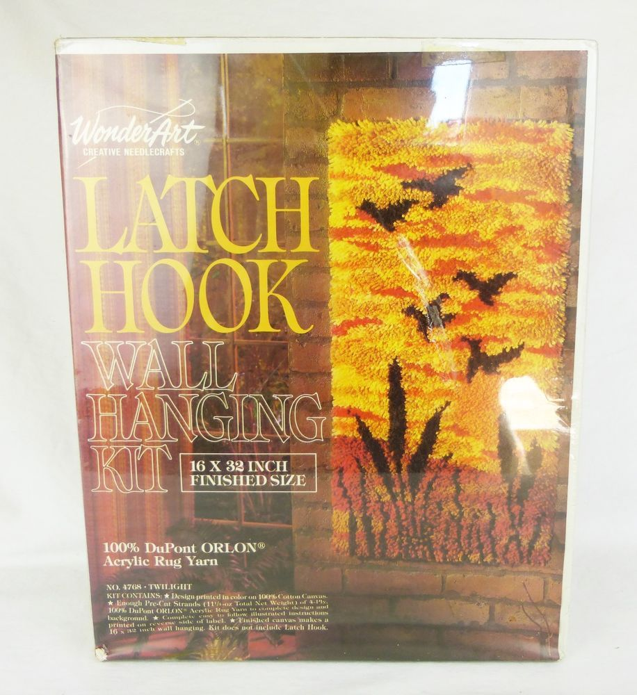 WonderArt latch hook wall hanging kit TWILIGHT Cattails Birds sunset ...