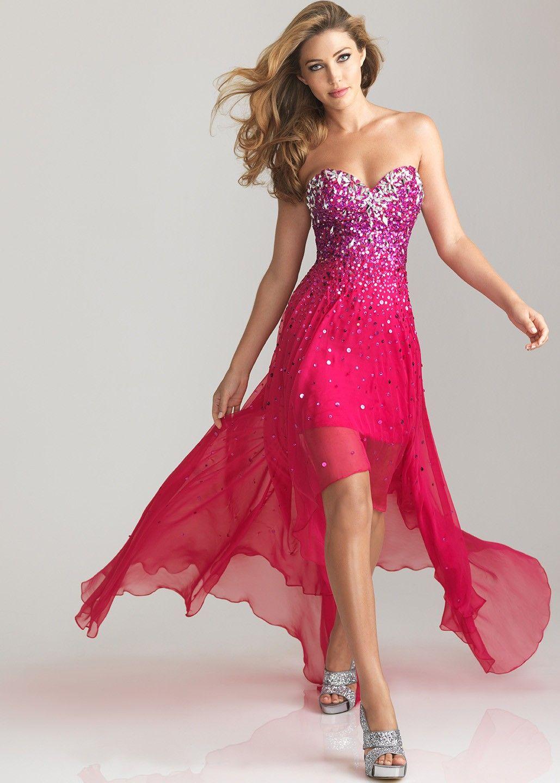 Cute fuchsia pink strapless high low prom dresses formal dress