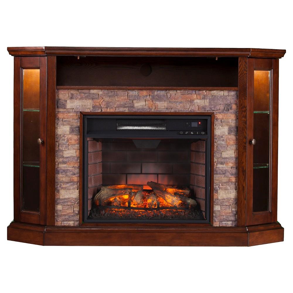 Reza Corner Convertible Infrared electric fireplace Media Stand-Espresso - Aiden Lane, Espresso Brown